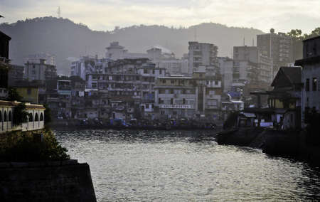 A boatless chinese harbor in the small city of Xiamen Editorial