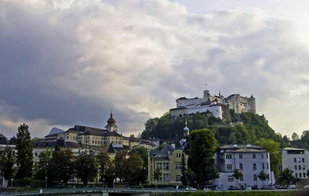 View of historic Salzburg with the castle on the hill