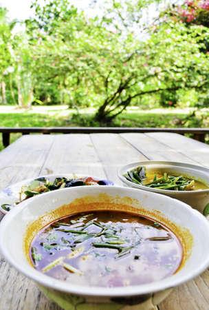 spicey: Una ciotola di zuppa tom yum in una zona pic-nic giardino Archivio Fotografico