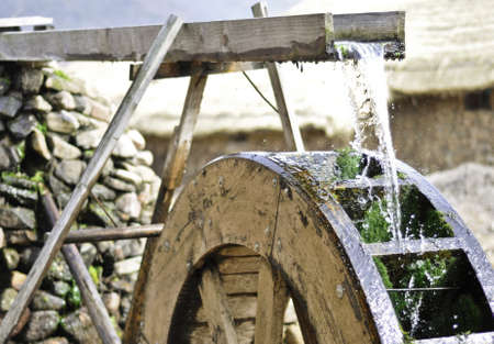 blading: Traditional waterwheel working in a cultural village