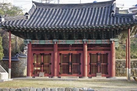 Historic korean pagoda style temple in Yeosu, Korea Stock Photo