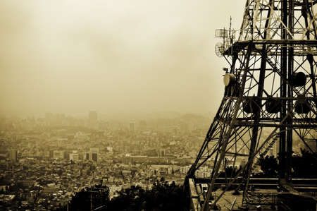 lookout from seoul tower over the smog covered city Stock Photo
