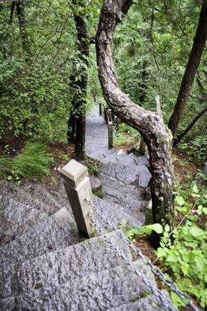 hoary: Stone stairs on a steep mountain pathway in a national park in china