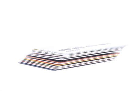 Stack of credit Cards isolated on the white background photo