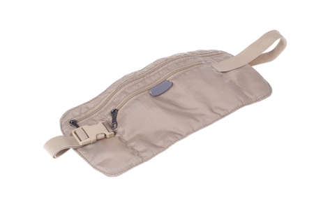 A travellers money belt bag pouch isolated on white photo
