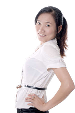 A young sassy asian business woman with white blouse isolated