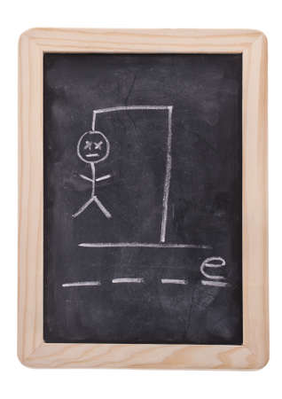 The game hangman on a blackboard with the words GAME not spelled out as hangman hangs.