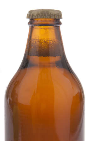 Full beer bottle with no labels isolated on white