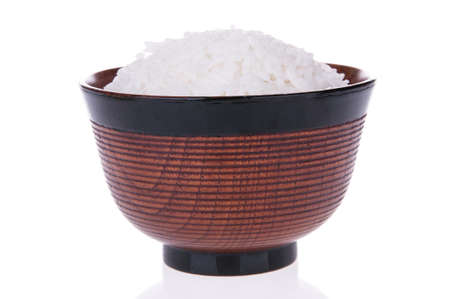 Bowl of cooked rice  isolated on white background