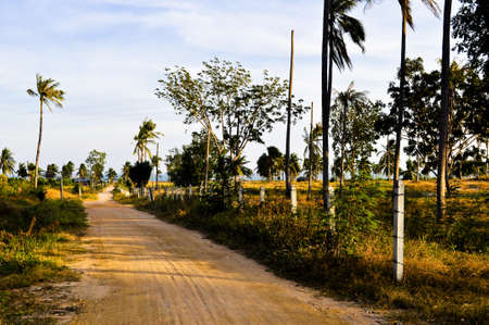 A lonely desolate dirt road leading to a private beach in Asia
