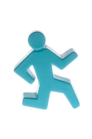 A blue stickman in a running position isolated
