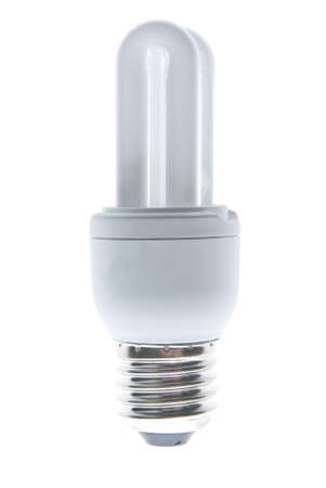 isolated small energy saving flourescent lightbulb Stock Photo