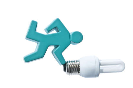 Blue stick man running with energy saving light bulb