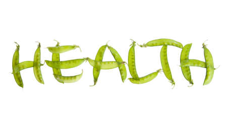 Healthy vegetable concept using pea pods to spell out word Stock Photo
