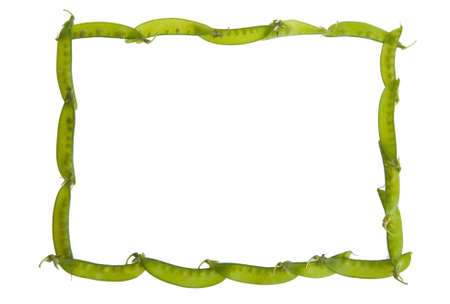 An Isolated border on white made of green pea pods