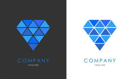 Creative Diamond logo design, polygone style in blue color. Vector logo template for luxury companies branding