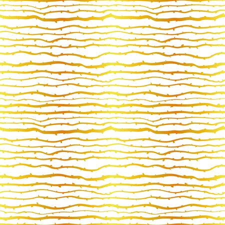 Branches forest growing horizontally in gold foil on white background. Vector seamless pattern design for textile, fashion, paper and wrapping Ilustração