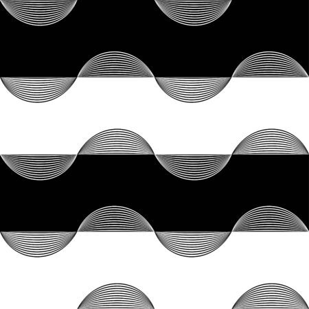 Abstract horizontal stripes wrapped in linear waves pattern. Vector seamless pattern design for textile, fashion, wrapping and paper