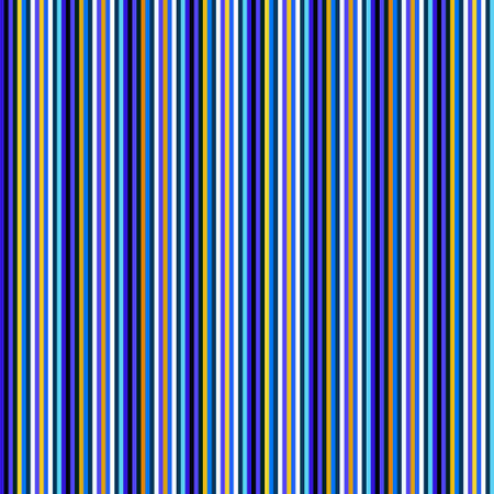 Blue shades and gold color stripes vertical repeated pattern. Vector seamless pattern design for textile, fashion, paper and wrapping. Stock Illustratie