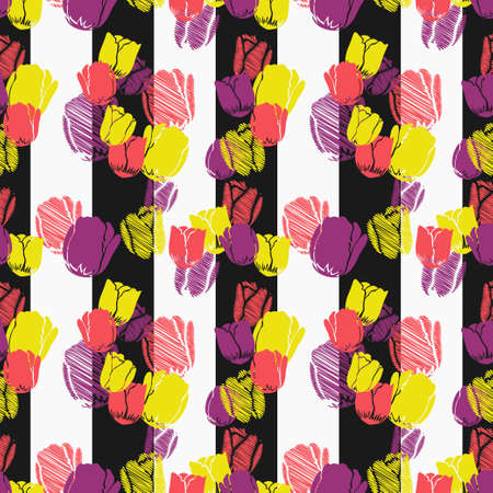 Colorful tulips on vertical stripes pattern. Vector seamless pattern design for textile, fashion, paper and wrapping. Stock Illustratie