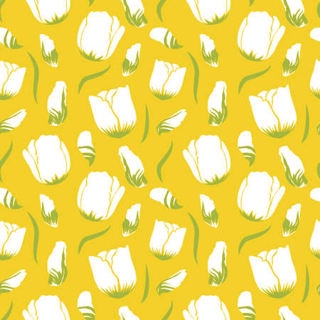 White tulips and petals falling in bright yellow background pattern. Vector seamless pattern design for textile, fashion, paper and wrapping.