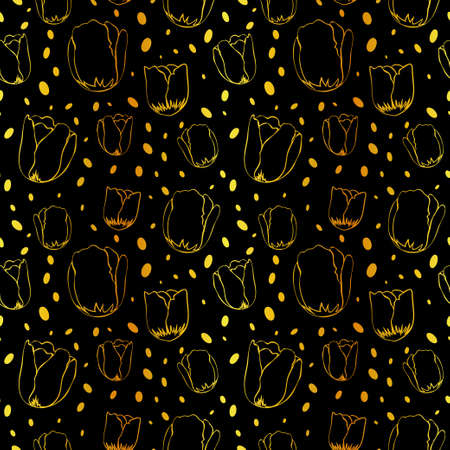 Tulips and falling snow doodles dark cutout on gold foil seamless pattern. Vector seamless pattern design for textile, fashion, paper and wrapping.