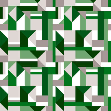 Green Monochromatic geometric shapes collage pattern. Vector seamless pattern design for textile, fashion, paper and wrapping.