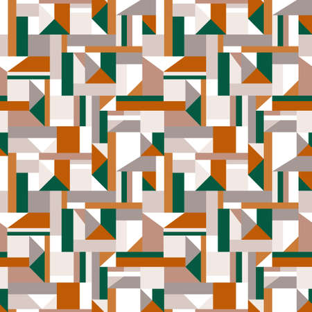 Geometric shapes collage pattern of squares, rectangles and triangles. Vector seamless pattern design for textile, fashion, paper and wrapping.