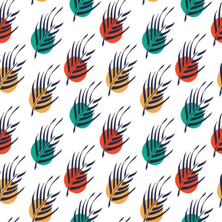 Palm leaves boho style and colorful dots pattern. Vector seamless pattern design for textile, fashion, paper and wrapping.