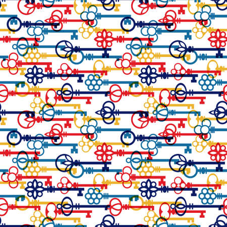 Overlapping antique keys in primary colors horizontal pattern. Vector seamless pattern design for textile, fashion, paper and wrapping.