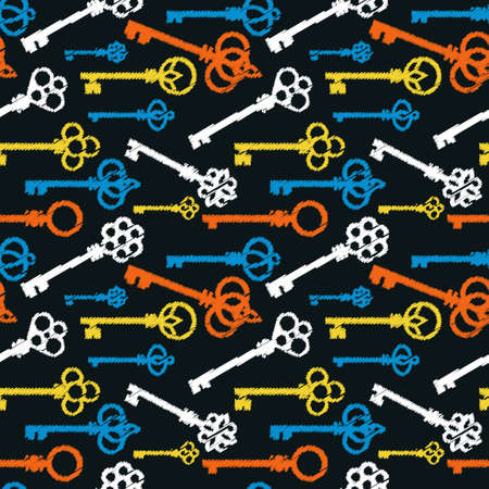 Colorful chalk drawings style antique keys pattern. Vector seamless pattern design for textile, fashion, paper and wrapping.