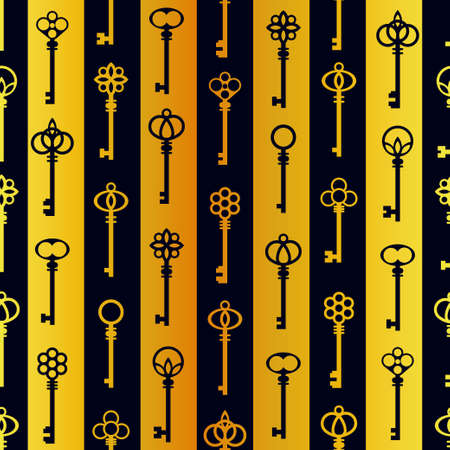 Luxury antique keys vertical golden and blue pattern. Vector seamless pattern design for textile, fashion, paper and wrapping.