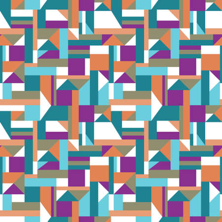 Geometric shapes mosaic pattern of squares, rectangles and triangles. Vector seamless pattern design for textile, fashion, paper and wrapping.
