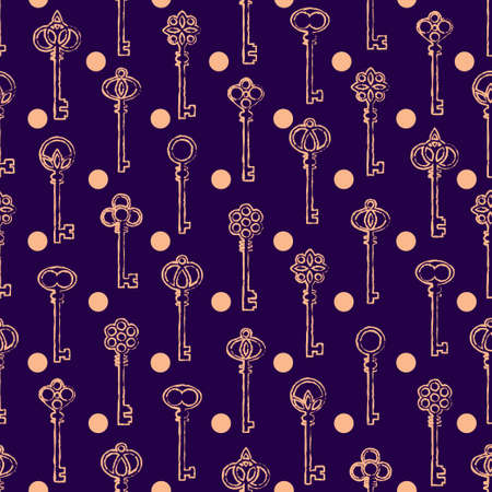 Rustic antique keys in purple and pink pattern. Vector seamless pattern design for textile, fashion, paper and wrapping. Stock Illustratie