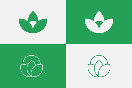 SET Nature lotus inspired logo concept. Two unique designs for your brand, fitting for cosmetics, health, lifestyle, yoga.