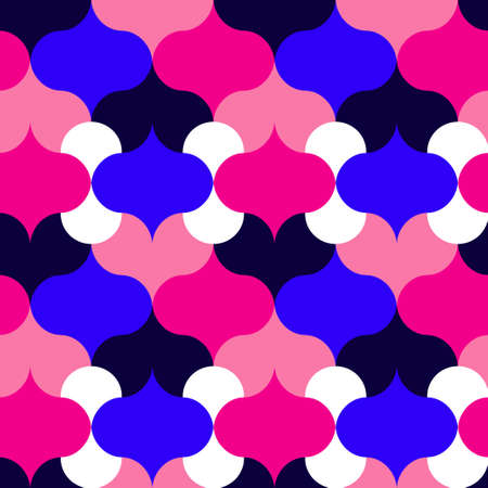 Abstract shapes pink and blue repeat pattern. Vector seamless pattern design for textile, fashion, paper and wrapping.
