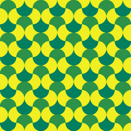 Abstract round green and yellow repeat shape pattern. Vector seamless pattern design for textile, fashion, paper and wrapping.