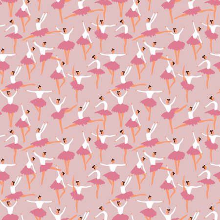 Ballerina posing in soft pastel pink pattern. Vector seamless pattern design for textile, fashion, paper and wrapping. Stock Illustratie