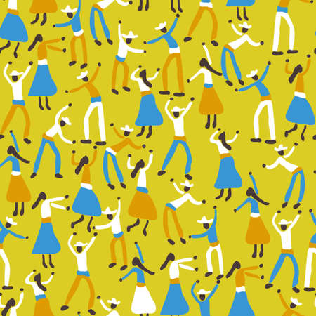 Dark skin people Folklore dance party in yellow and blue pattern. Vector seamless pattern design for textile, fashion, paper and wrapping. Stock Illustratie