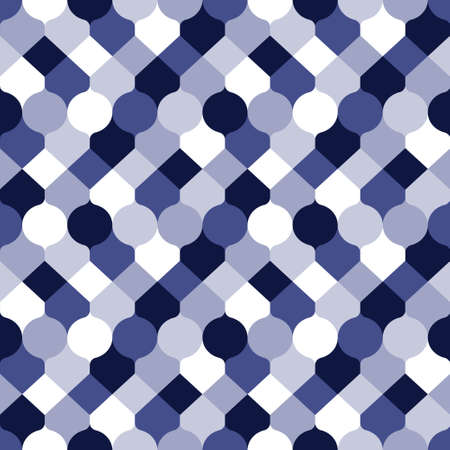 Abstract geometric shapes pattern in blue shades. Vector seamless pattern design for textile, fashion, paper and wrapping.