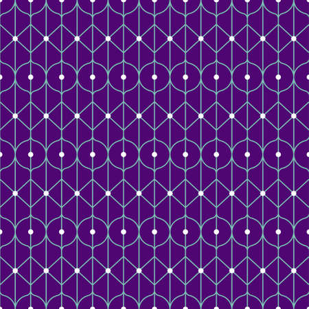 Geometric purple outline pattern with white dots. Vector seamless pattern design for textile, fashion, paper and wrapping.
