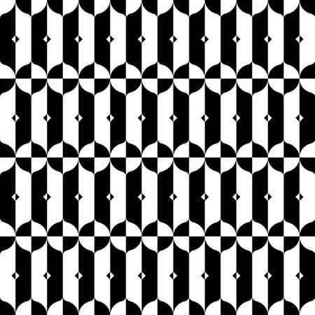 Optical illusion black and white repeat pattern. Vector seamless pattern design for textile, fashion, paper and wrapping. Stock Illustratie