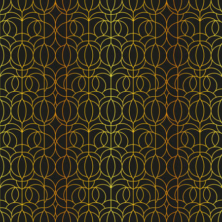 Elegant outline pattern in black and gold foil outline. Vector seamless pattern design for textile, fashion, paper and wrapping. Stock Illustratie