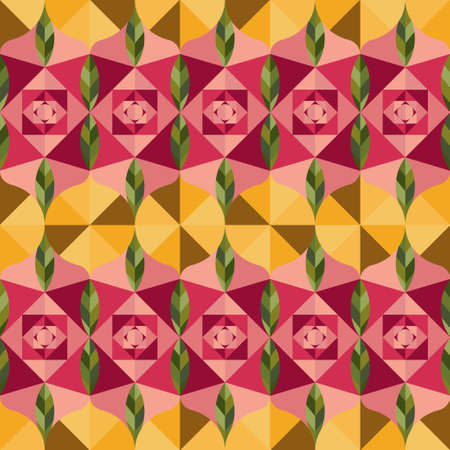 Abstract pattern inspired in stained glass roses mosaic. Vector seamless pattern design for textile, fashion, paper and wrapping. Stock Illustratie