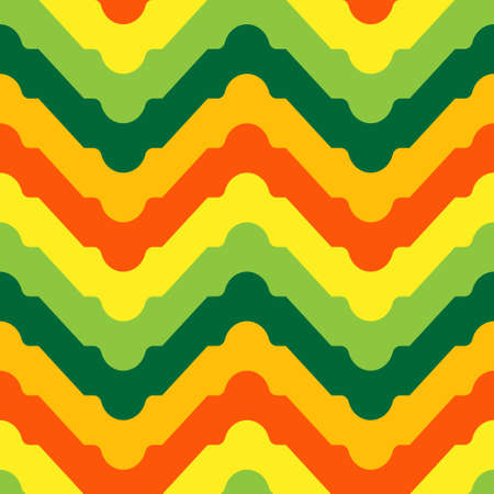 Vintage zig-zag tribal pattern in orange, yellow and green. Vector seamless pattern design for textile, fashion, paper and wrapping.