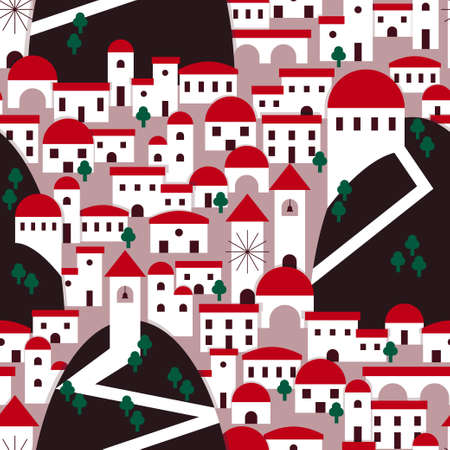 Valley village illustration pattern with red roof houses and trees. Vector seamless pattern design for textile, fashion, paper and wrapping. Stock Illustratie