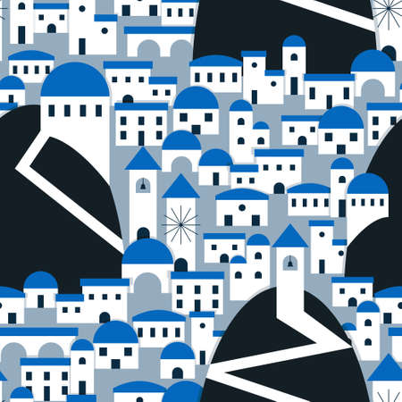 Santorini village inspired pattern in white and blue. Vector seamless pattern design for textile, fashion, paper and wrapping. Stock Illustratie