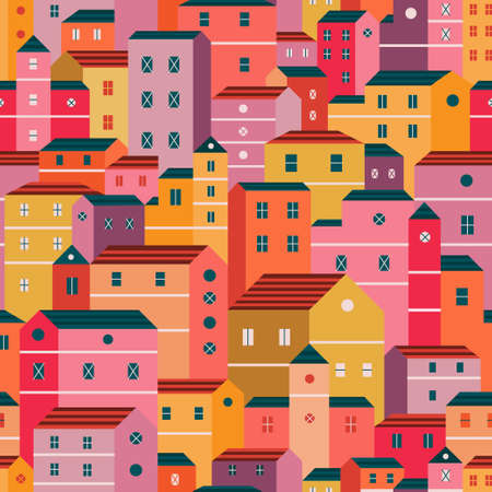 Colorful houses pattern in flat design style. Vector seamless pattern design for textile, fashion, paper and wrapping. Stock Illustratie