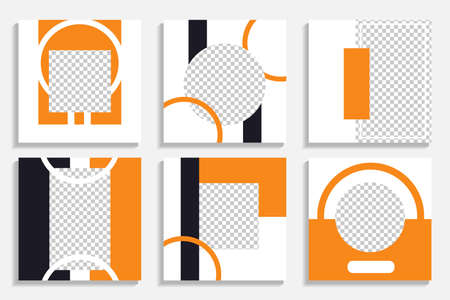 SET of 6 social media templates in orange and navy blue. Fun templates with geometric shapes for your brand Stock Illustratie