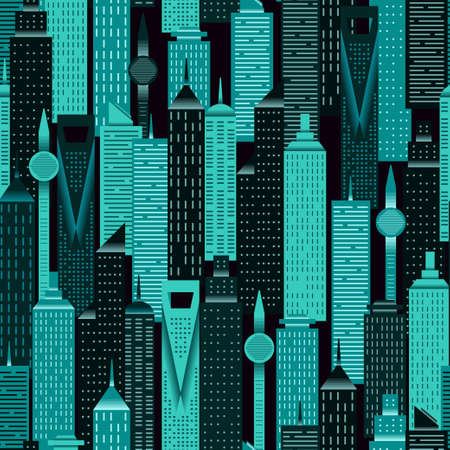 Night time city skyline pattern flat style. Vector seamless pattern design for textile, fashion, paper and wrapping. Stock Illustratie